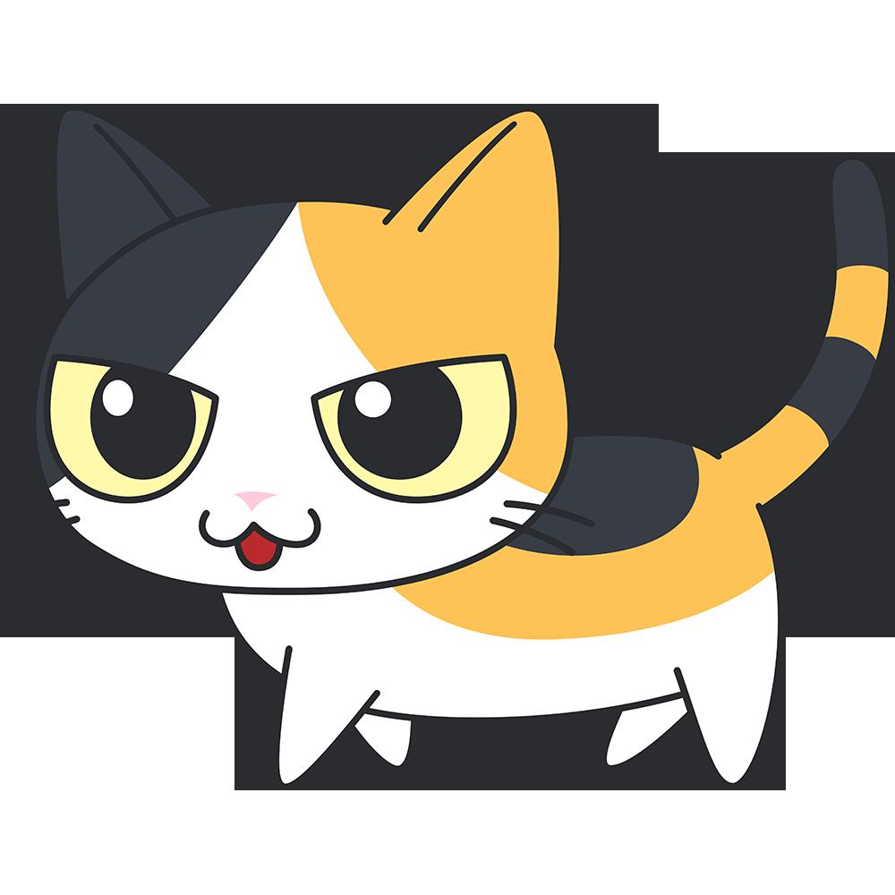 かわいい三毛猫の無料イラスト