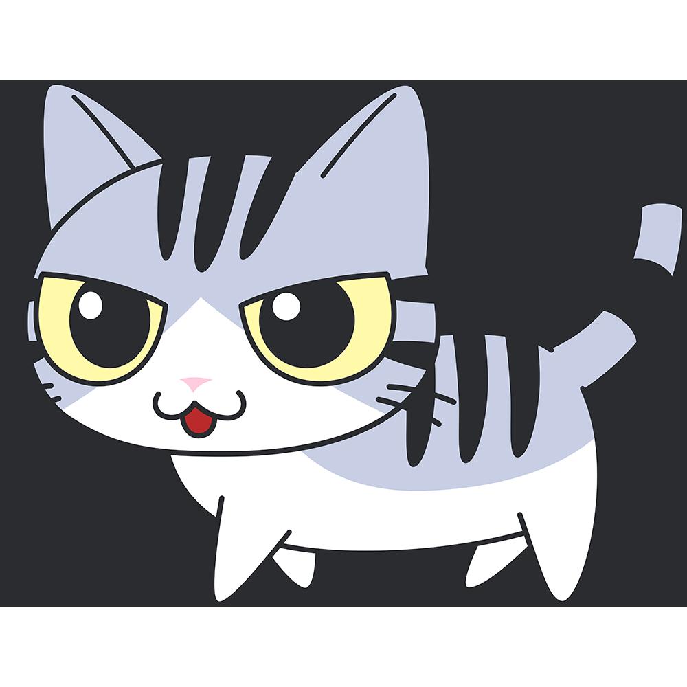 かわいいサバ白猫の無料イラスト