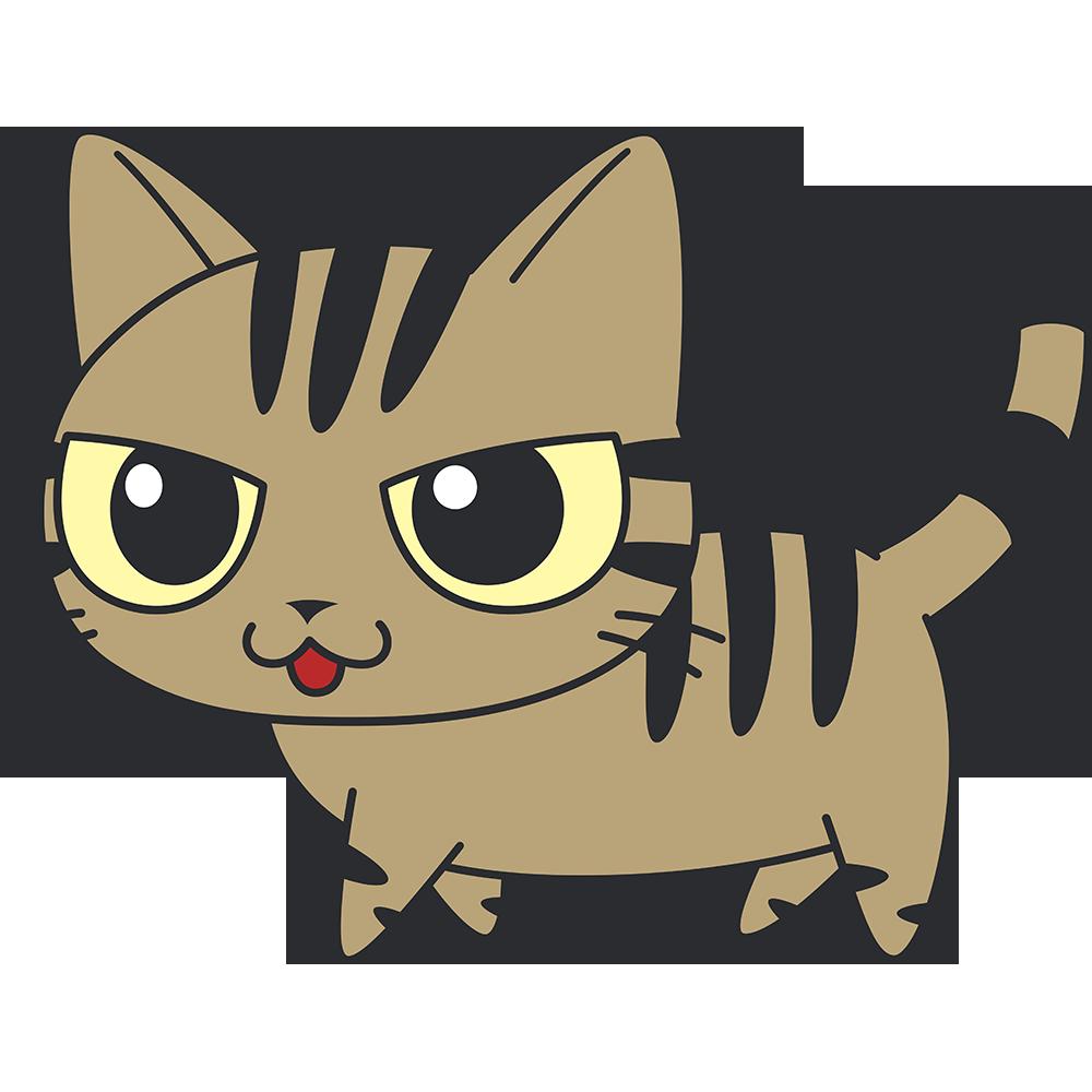 かわいいキジトラ猫の無料イラスト