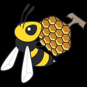 蜂とハチの巣の無料イラスト