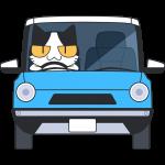 車を運転する猫の無料イラスト