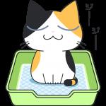ペットシートでおしっこをする三毛猫の無料イラスト