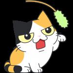 猫じゃらしで遊ぶ三毛猫の無料イラスト