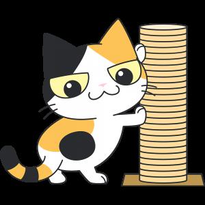 爪とぎタワーと三毛猫の無料イラスト