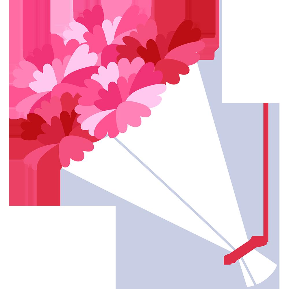 カーネーションの花束の無料イラスト