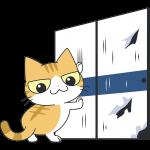 襖を破る茶白猫の無料イラスト
