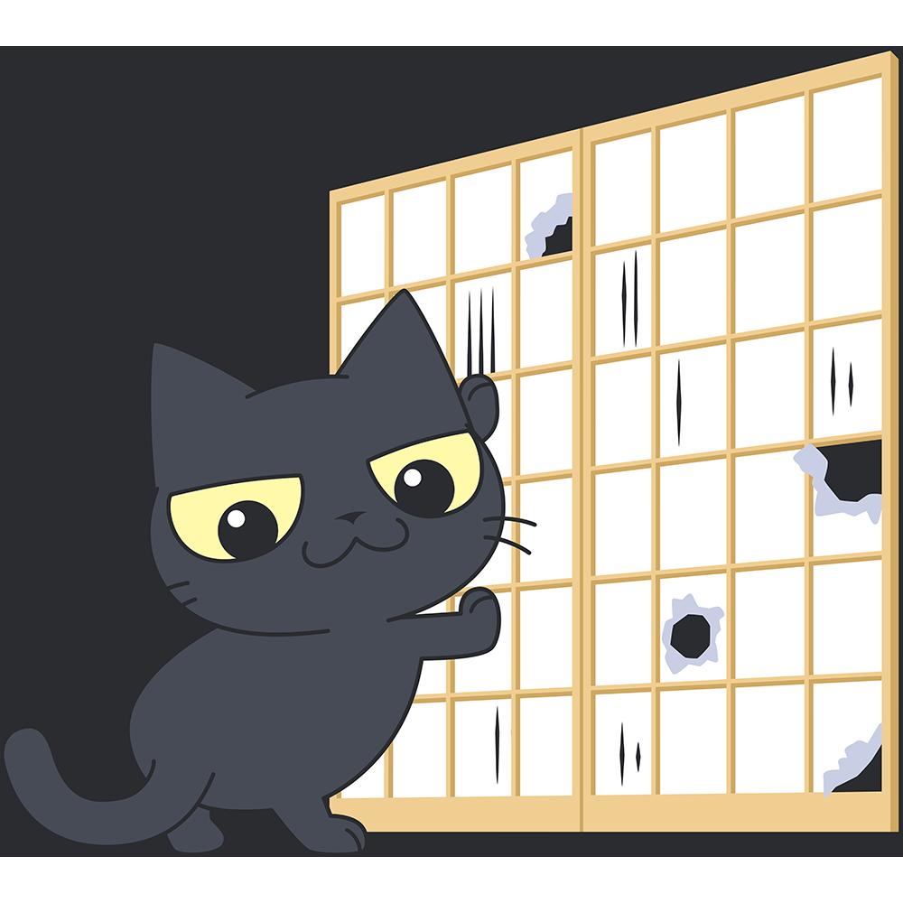 障子を破る黒猫の無料イラスト