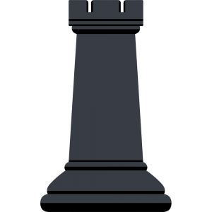 チェスの黒駒(ルーク)の無料イラスト