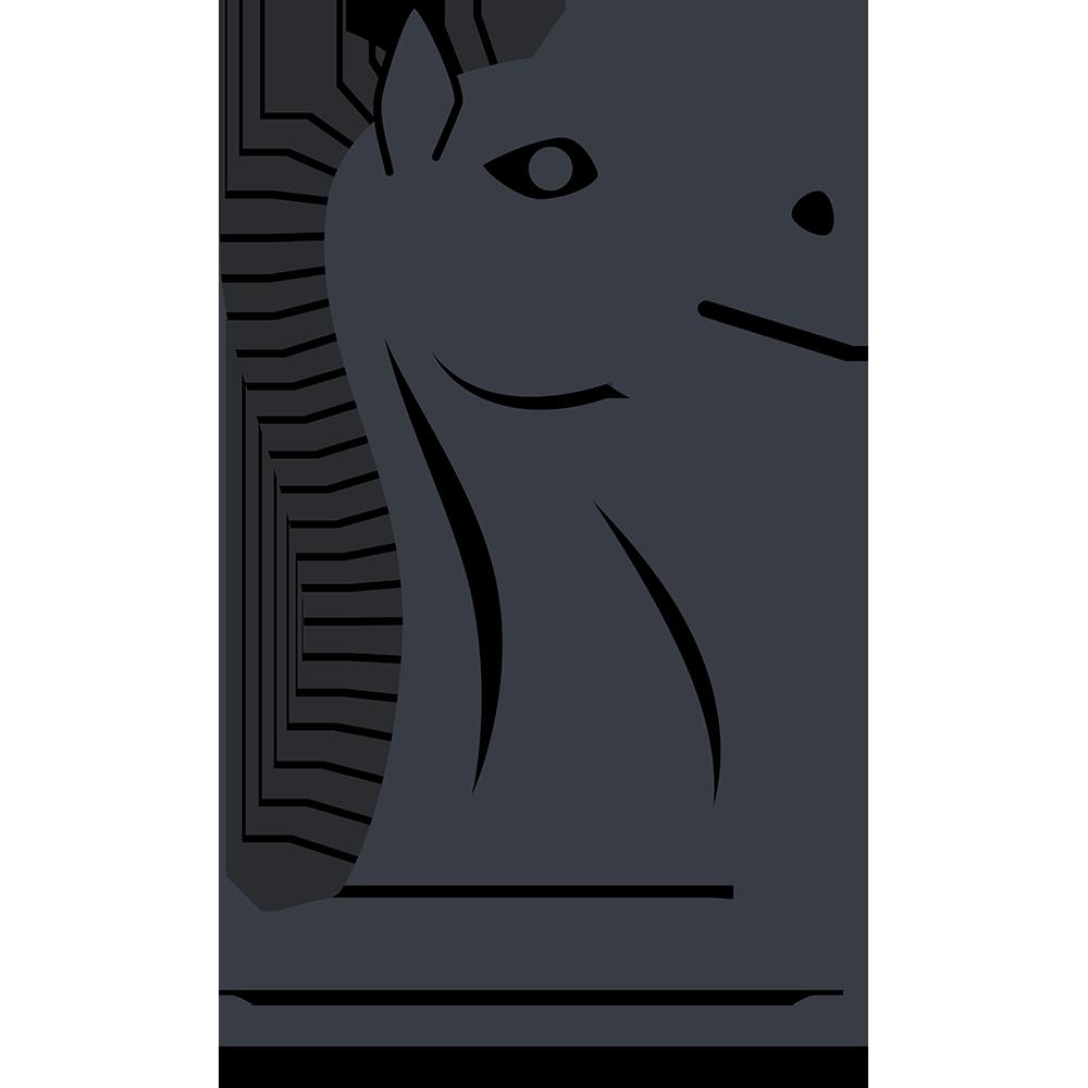 チェスの黒駒(ナイト)の無料イラスト