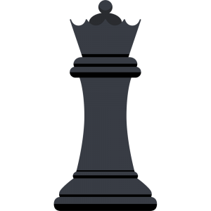 チェスの黒駒(クイーン)の無料イラスト