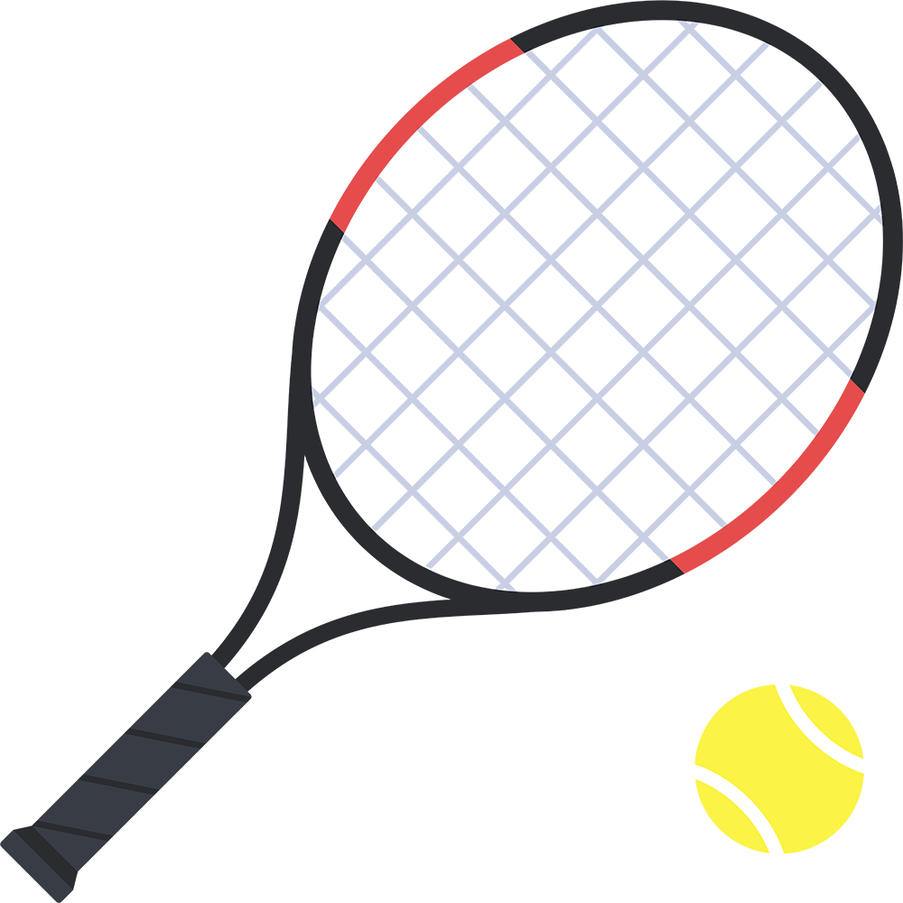 テニスボールとラケットの無料イラスト