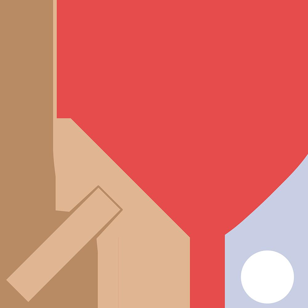 卓球:ペンホルダーラケットの無料イラスト