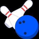 ボーリングボールとピンの無料イラスト