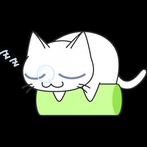 遊び疲れて寝る白猫の無料イラスト