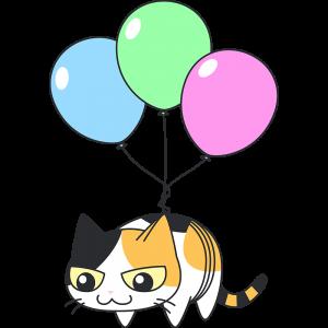 風船で空を飛ぶ三毛猫