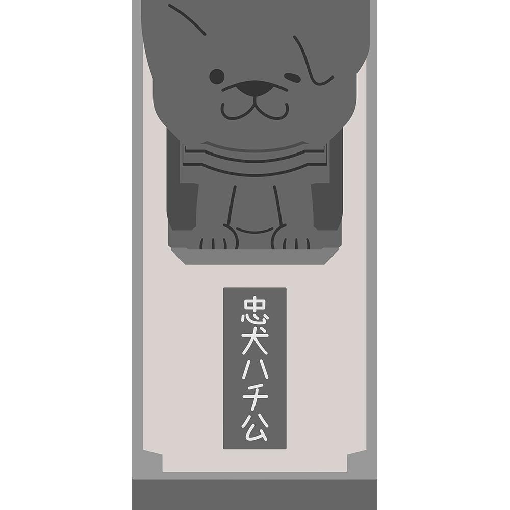 忠犬ハチ公像の無料イラスト
