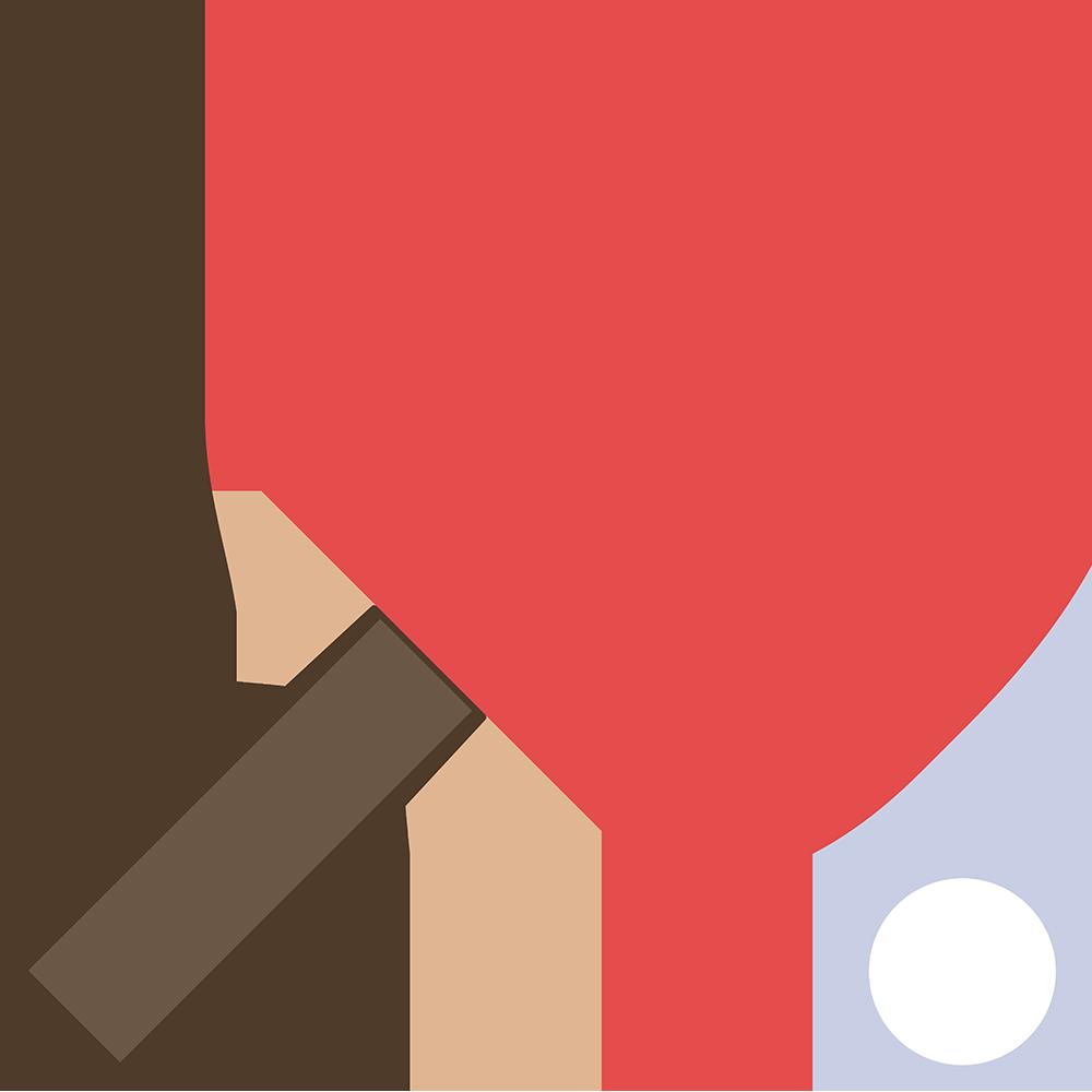 卓球:シェークハンドラケットの無料イラスト