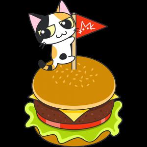 ハンバーガーと三毛猫