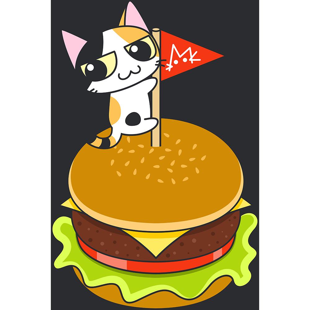 ハンバーガーと三毛猫の無料イラスト