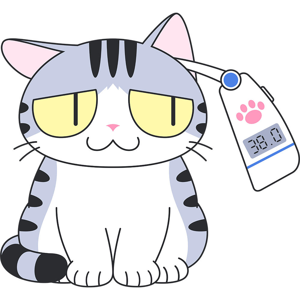 耳で体温を測る猫の無料イラスト