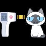 赤外線で体温を測る猫の無料イラスト