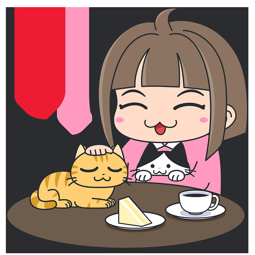 猫カフェで楽しむ女性の無料イラスト