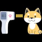赤外線で体温を測る犬の無料イラスト