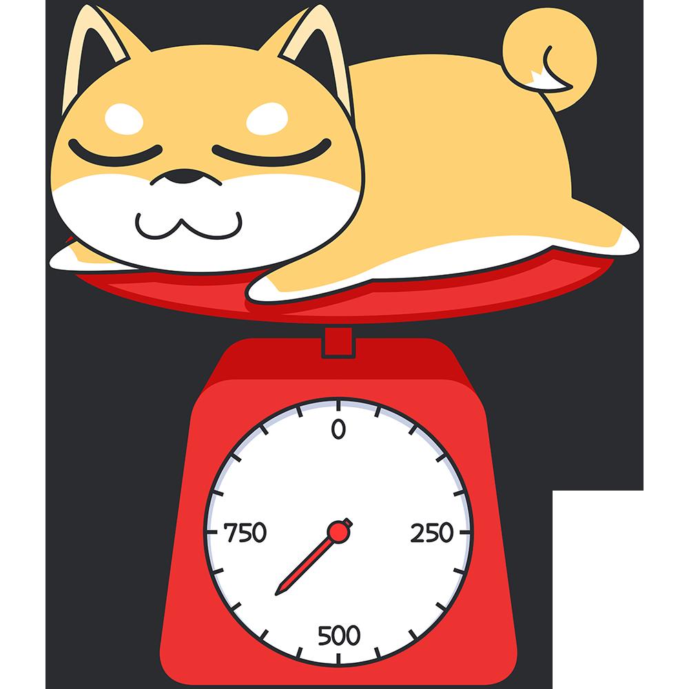 子犬の体重測定の無料イラスト