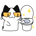 トイレを掃除する猫の無料イラスト