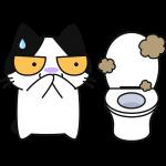 臭いトイレに悶絶する猫の無料イラスト
