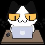 パソコンをする猫の無料イラスト