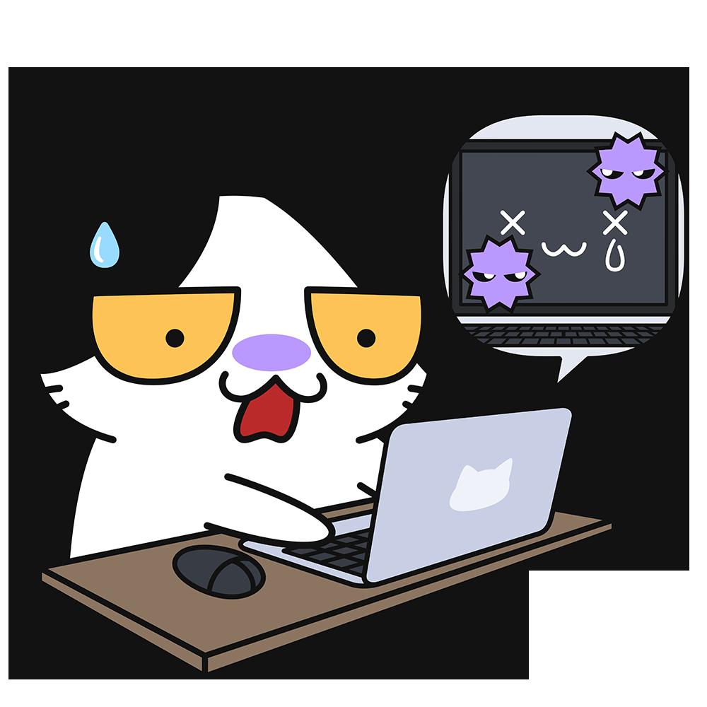 ウイルスに感染したパソコンに困る猫の無料イラスト