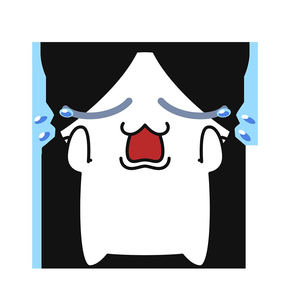 泣く猫コハクちゃんの無料イラスト