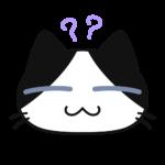 猫:コハクちゃんの考える顔の無料イラスト