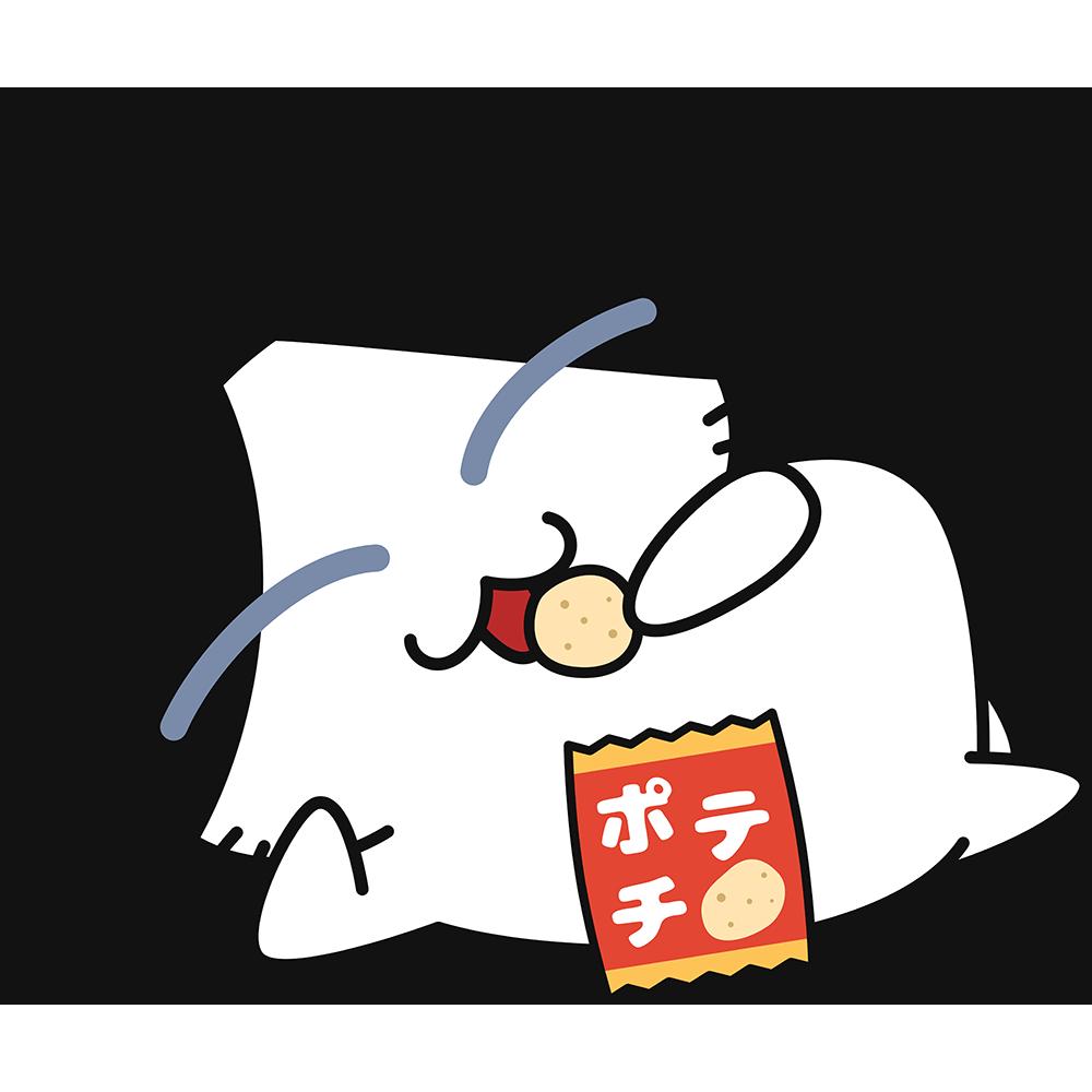 寝ながらスナック菓子を食べる猫の無料イラスト