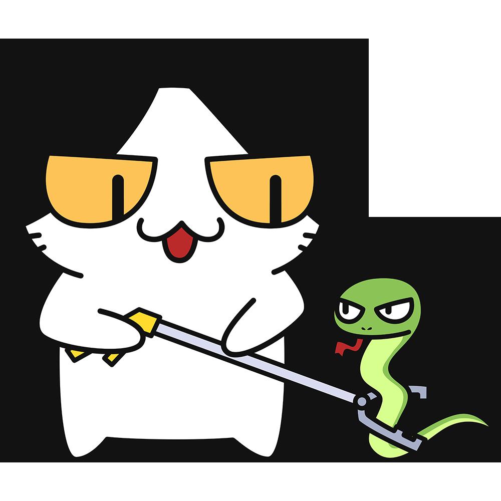 蛇を駆除する猫の無料イラスト