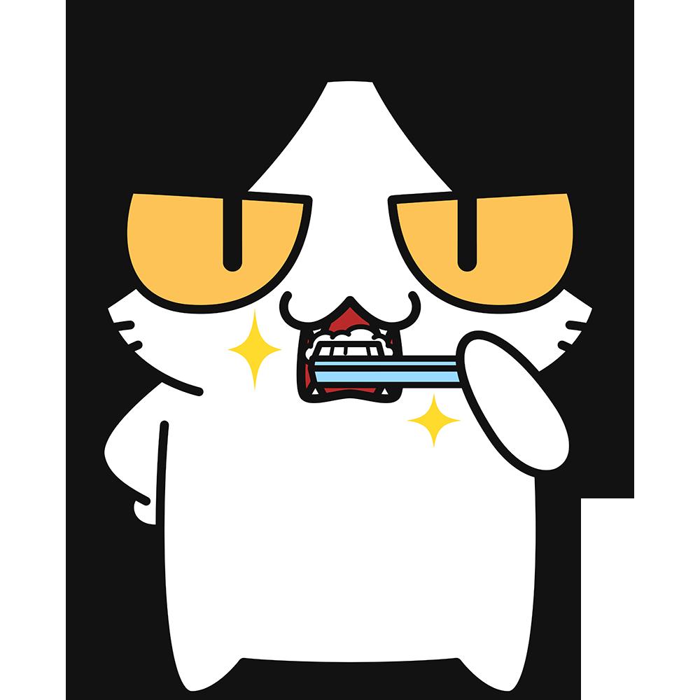 歯磨きをする猫の無料イラスト