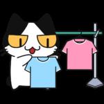 洗濯物を干す猫の無料イラスト
