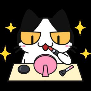 メイク・化粧をする猫の無料イラスト
