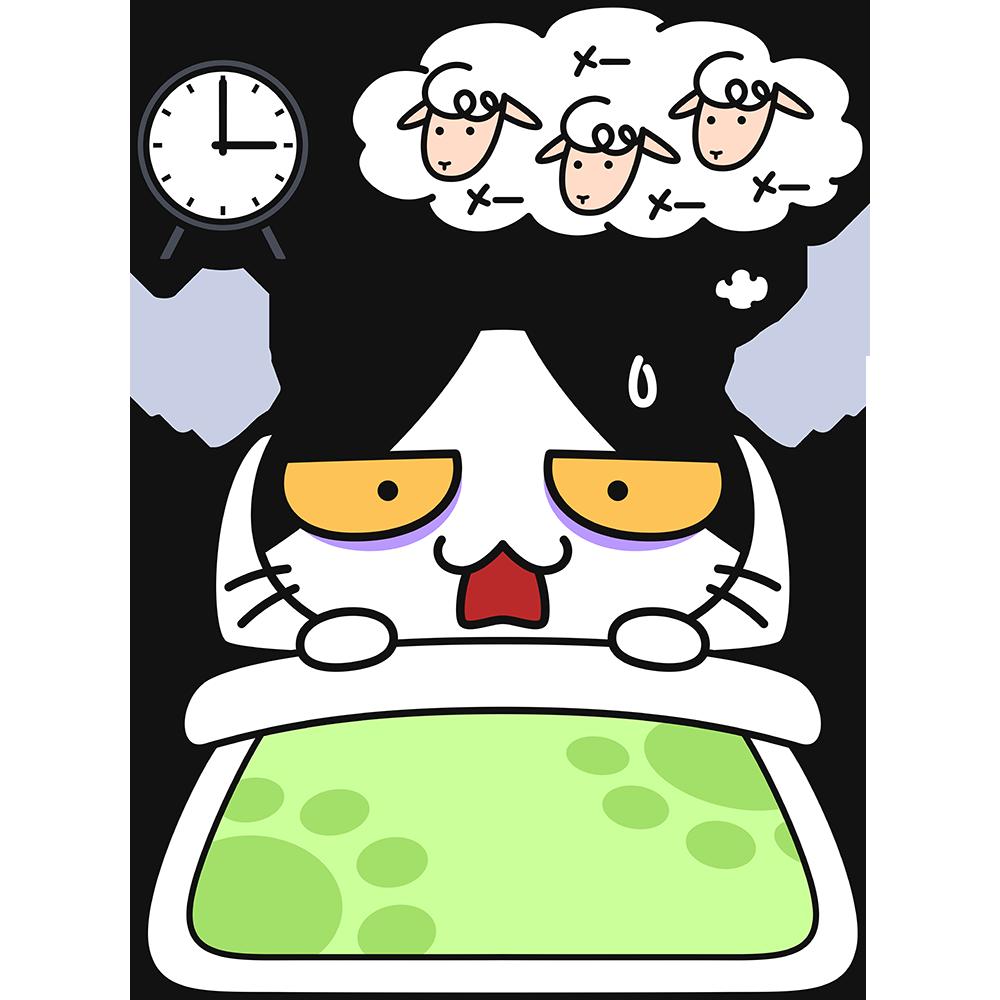 不眠症で寝付けない猫の無料イラスト