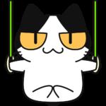 つり輪をする猫の無料イラスト