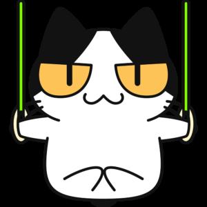 つり輪をする猫