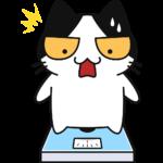 体重が増えてびっくりする猫の無料イラスト