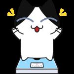 体重が減って喜ぶ猫の無料イラスト