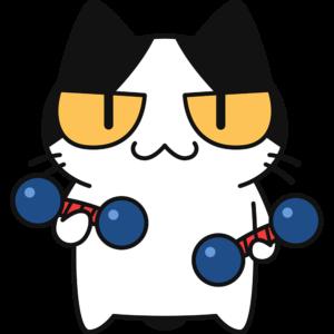 鉄アレイでトレーニングをする猫の無料イラスト