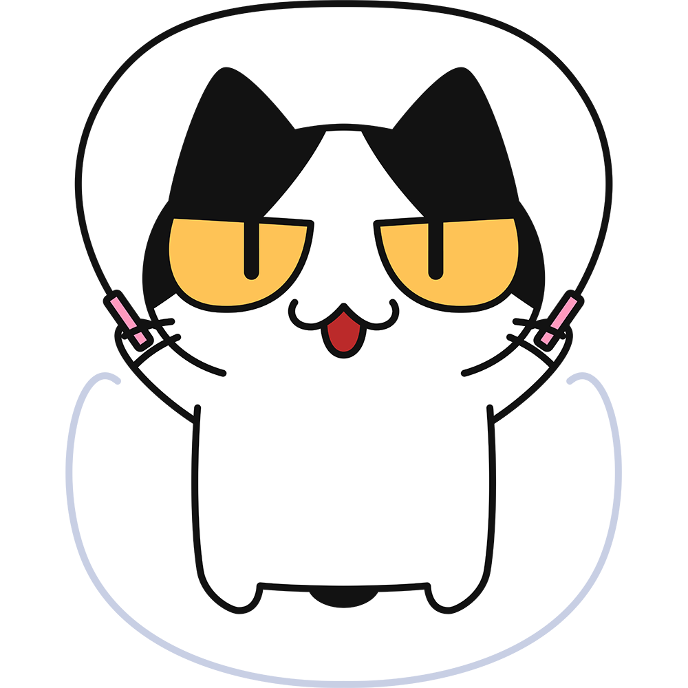 縄跳びをする猫の無料イラスト