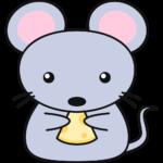 チーズを食べるネズミの無料イラスト