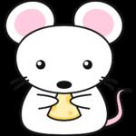 チーズを食べる白いネズミの無料イラスト