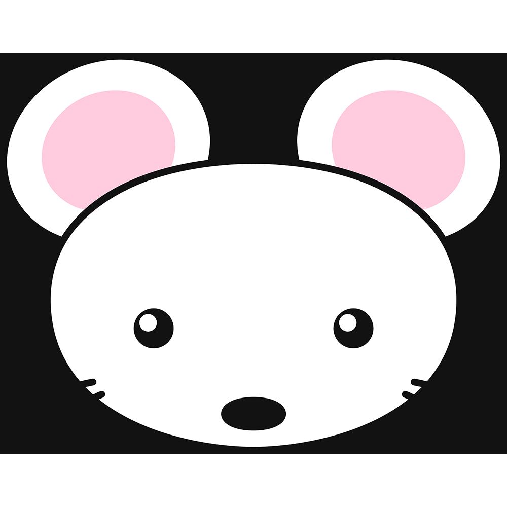 白いネズミの顔の無料イラスト
