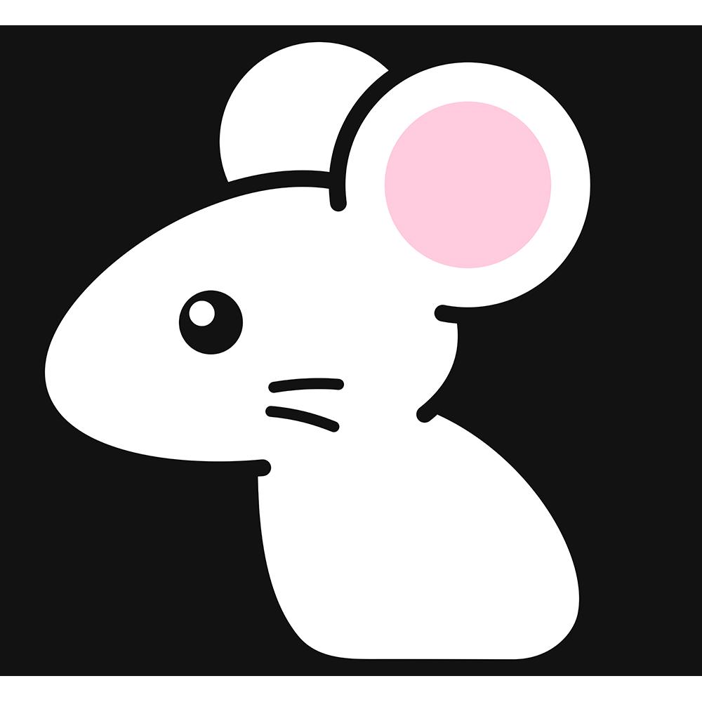 白いネズミの無料イラスト